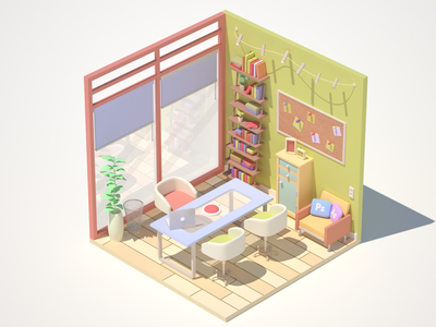 My office's red button does work cartoon 3drendering office 3dmodel c4d illustration 3d 3dart isometric