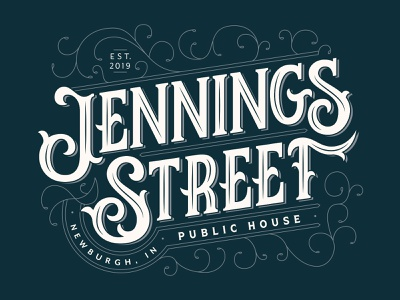 Jennings St. Public House Logo victorian pub logotypes lettering blue logotype