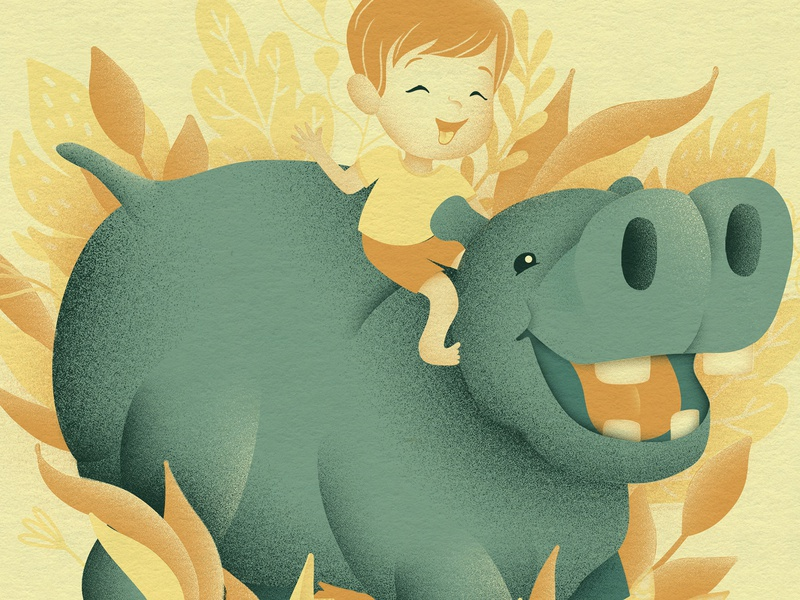 River's Hippo animal plants character texture childrens illustration hippo illustration design limited color color