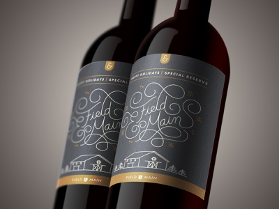 Field & Main Holiday Wine Label limited color custom lettering lettering wine holiday monoline illustration