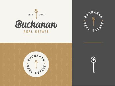 Buchanan Real Estate logo real estate branding real estate key pattern hand lettering custom logotype logotype