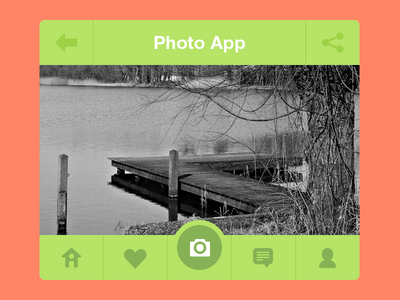 Photo App ui ux mobile photo app batch icons flat home previous orange instagram iphone photo ios green user camera cam comment bnw camera app share like heart nature