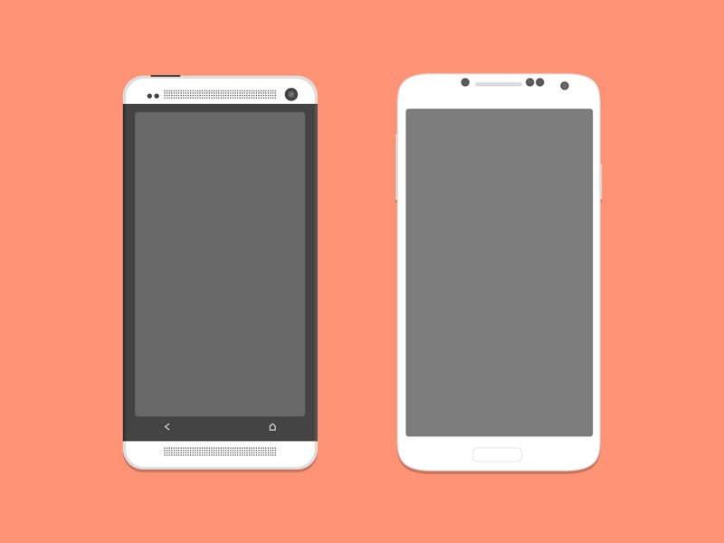 HTC One and Galaxy S4 (PSD) ramil derogongun flat mockup illustrator htc playstore phone white samsung s4 htc one android psd freebies free orange cellphone bluroon flagship ai buttons mobile mic iphone ios iphone 5s vector eps screen