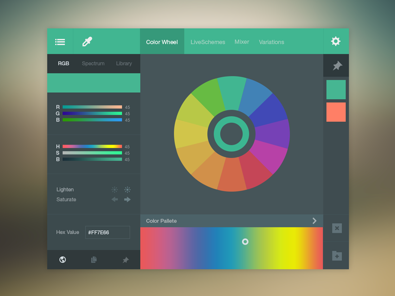 Color Picker UI (FREE PSD) flat ux psd free color picker ui green freebie photoshop web design