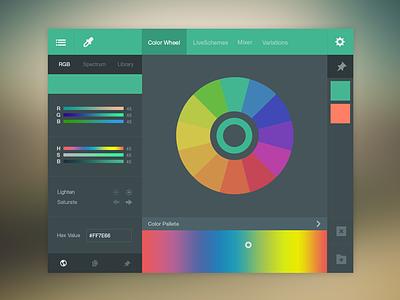 Color Picker UI (FREE PSD) flat ux psd free color picker ui green freebie photoshop web design