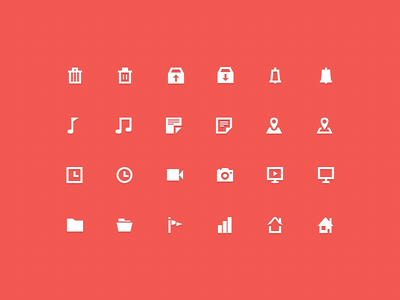30 Free Icons (with PSD) trash graph flag clock music folder icons flat vector psd freebie free