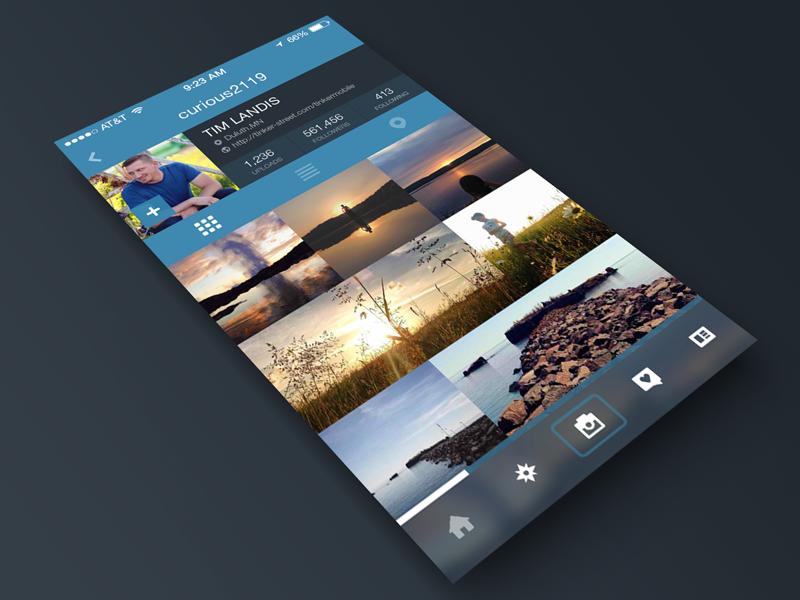 Instagram Profile Page Redesign for iOS7 ui ux mobile photo app instagram ios ios7 flat redesign profile dark photos