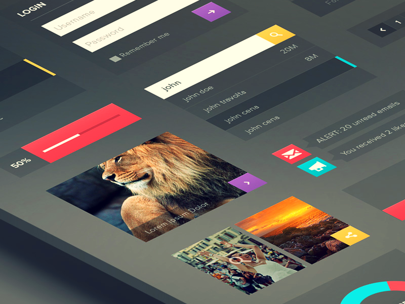 Web UI Kit ui ux colors flat almost ui kit bluroon bill s kenney ramil derogongun behance graph player