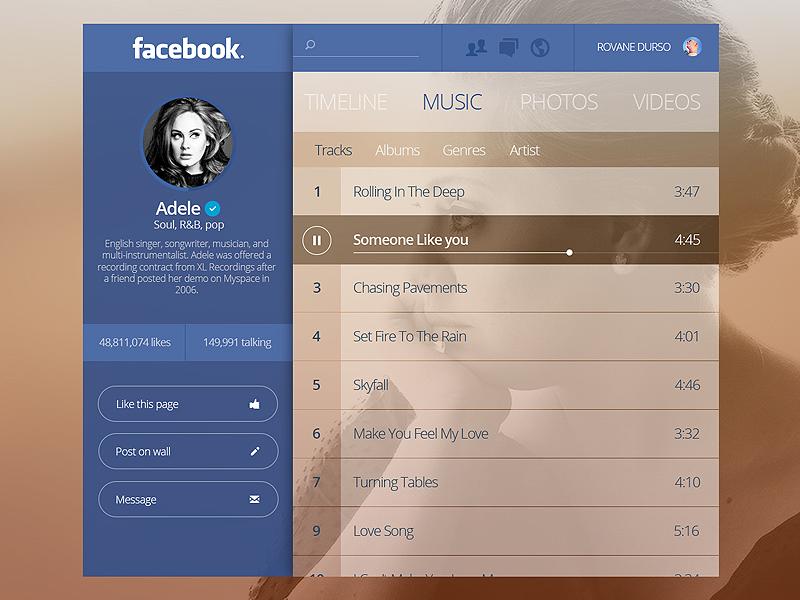 Facebook Artist Page Concept ui app ux facebook concept adele redesign player music social google twitter