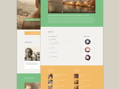 Homepage 2.0 charity slide colours music non-profit buttons music player navigation social media blog video player flat