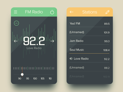 FM Radio UI radio ui ux music tuner list edit iphone ios mobile fm player