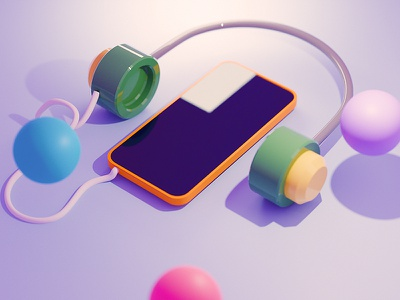 Mockup Cover Exploration sphere balls audio kids app kids exploration music iphone mockup design illustration 3d ux ui