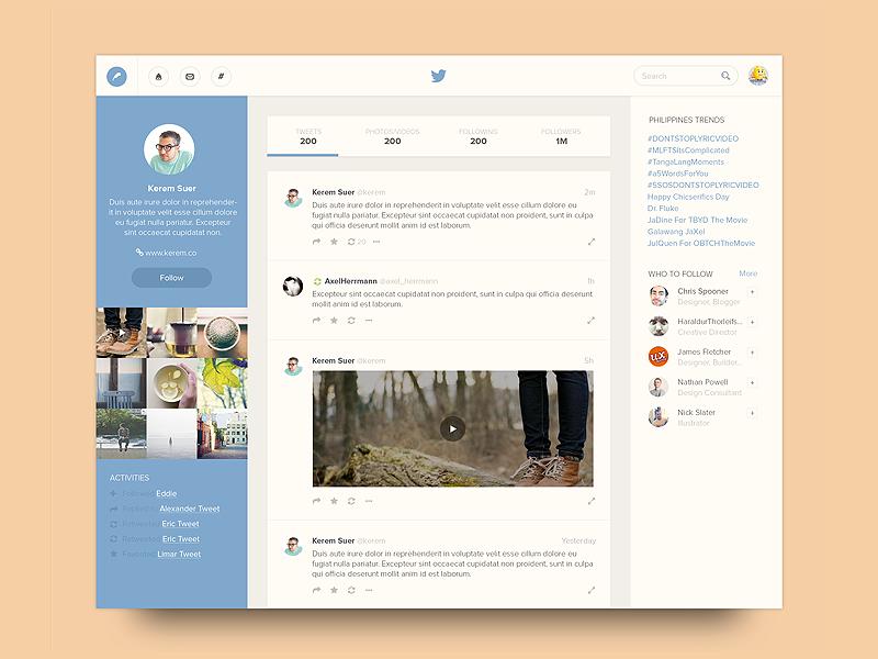 Twitter Profile profile ui ux web twitter redesign concept icons unsplash
