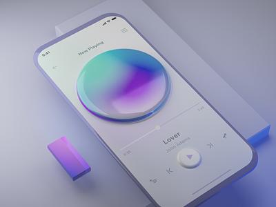 Music 🎵 3d mobile interface music flat ux ui