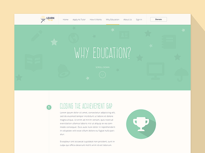Why Education Page ui ux web typography logo header education colors design list buttons flat