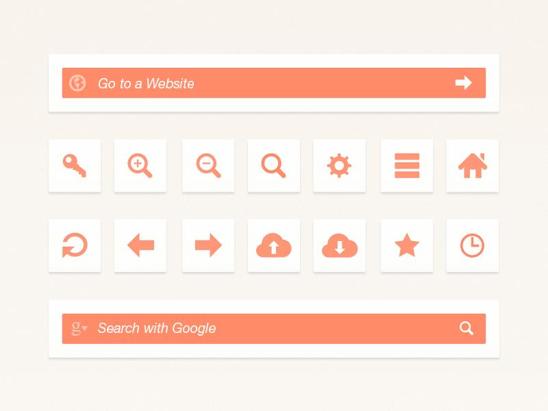 Web Browser UI Elements browser psd ui ux interface clean soft simple ui kit web browser orange search address bar icons freebie photoshop