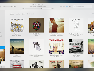 iTunes UI Redesign (with PSD) desktop windows audio player blur music player redesign free itunes flat clean soft psd apple light freebie app giveaway white