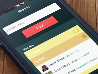 Search Engine UI mobile ui ux find search flat dark detail ui kit minimal color brown red yellow music twitter facebook social ios mobile app iphone