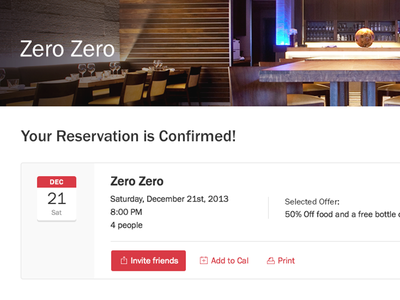 Confirmed Reservation [Unused] booking franklin gothic reservation opentable