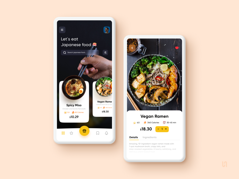 Japanese food app design