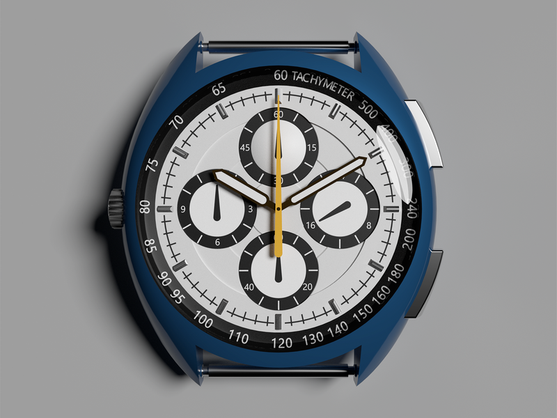 Watch 1 tachymeter second hour minute chronograph stopwatch clock time watch art after affects blue animation render model 3d illustration design vankappen timvankappen