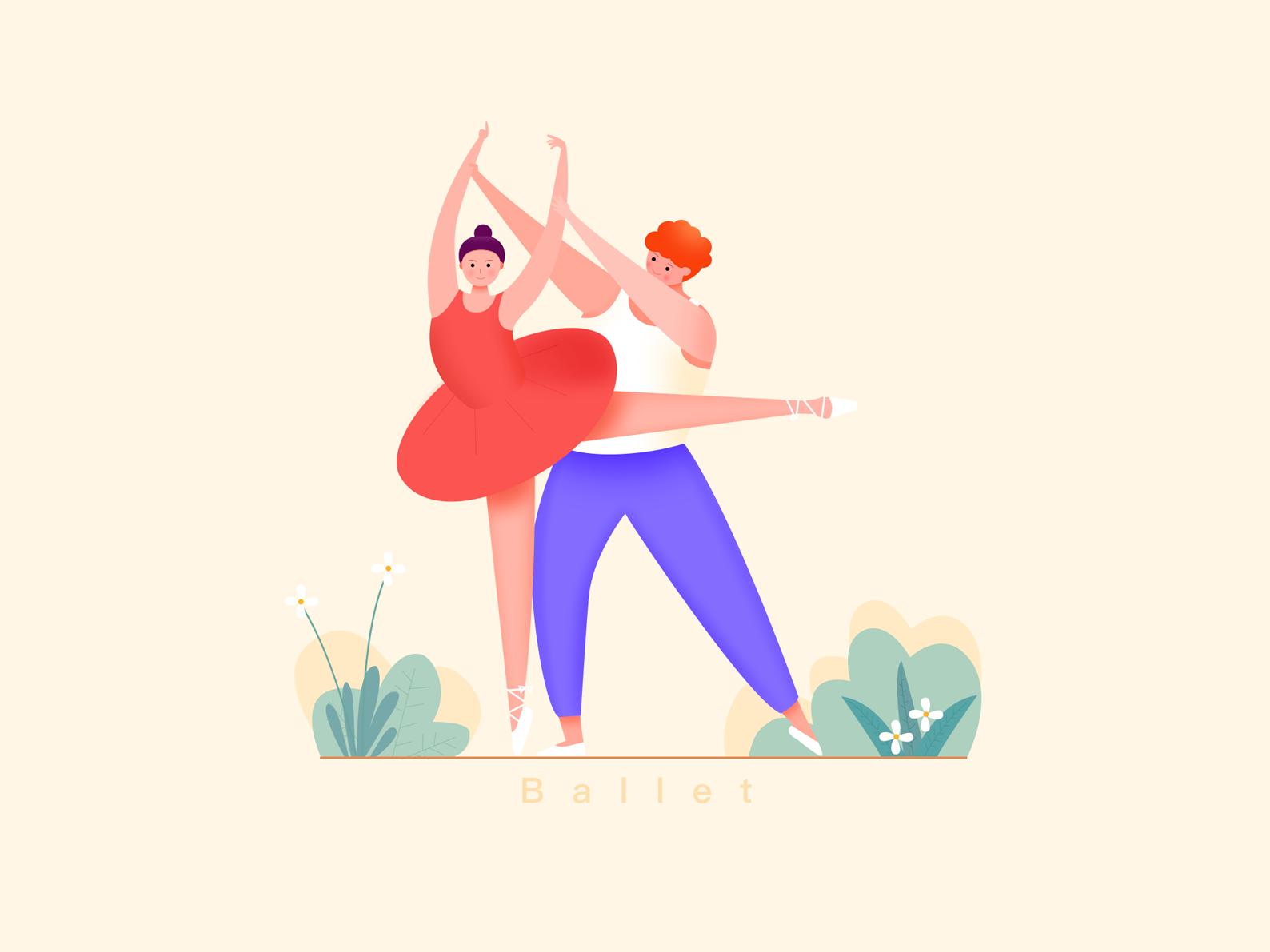 Ballet 舞蹈 插图 品牌 ui ps 设计