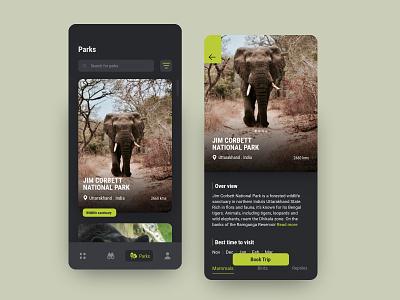 Wildlife sanctuary app mobile app mobile animallover elephant wild uidesign uiux ui animals wildlife