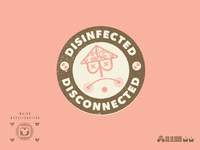 Disinfected = Disconnected icon vector mark branding logo type typography design
