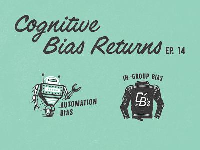 Cognitive Biases series advertising leather jacket biker gang automation robot illustration
