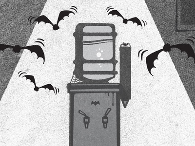 Batty halloween water cooler spooky mysterious cooky creepy office workplace bats