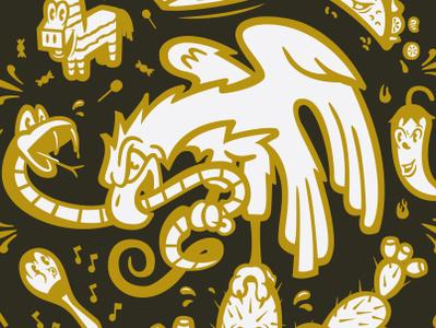 Cinco de Mayo vector branding design bird snake eagle sombrero taco maracas cactus pinata mexico illustration