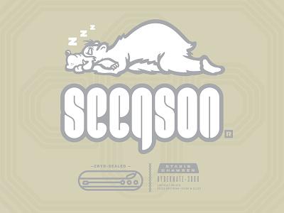 Seegson® xenomorph halloween stasis weyland-yutani nostromo alien hibernate sleeping bear vector design logo branding typography lettering type illustration tour of terror