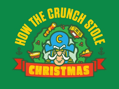 The Crunch cereal christmas typography vector branding design logo illustration