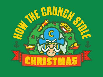 The Crunch cereal christmas typography vector branding design logo illustration