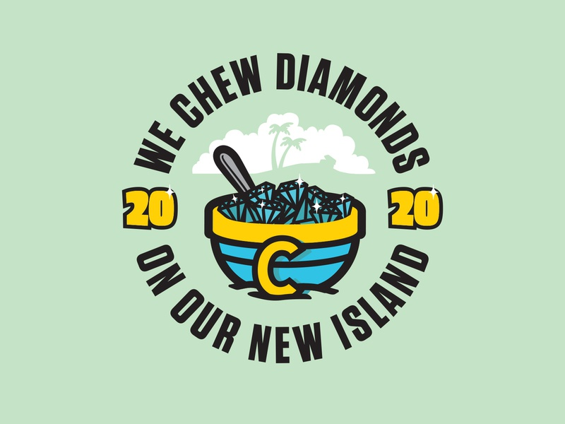 Chew Diamonds cereal tropical island illustration mark logo branding design typography type