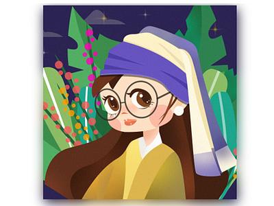 Meisje in the modern age travel design illustration