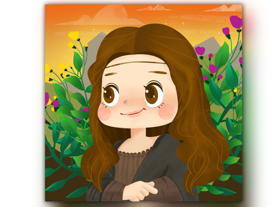 Mona Lisa in the modern age dream mona lisa smile travel ui landscape illustration