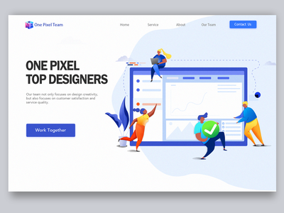 One Pixel we design work blue and yellow design web illustration design ui colour