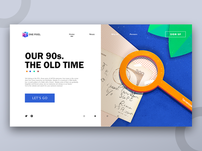 The old time web design colour typography landscape blue and yellow design illustration