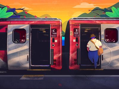 On The Road alone tree landscape sun travel train illustration