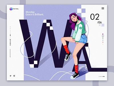 Feathers. letter w colour ui design purple hair cool fashion web illustration
