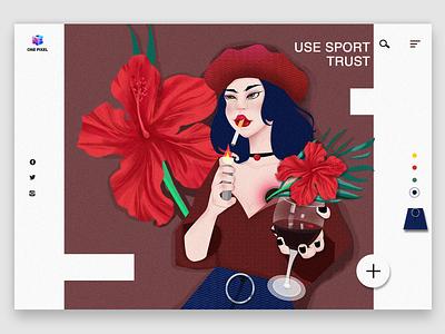 The flower girl web branding dream ui landscape design colour illustration