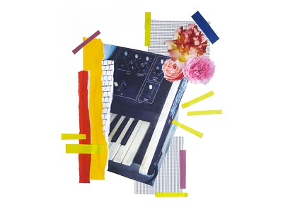 Bloom floral music keyboard handmade paste cut graphic design graphic design collage art collage