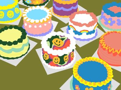 Cake Cake Cake retro color rainbow treat dessert baked baking cake smiley drawing challenge drawing illustration still life still here still life