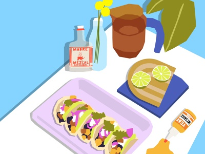 Taco Night cut out drawing challenge drawing illustration mexican food taco tuesday cocktail tacos plants tequila mezcal yeak hot sauce still here still life still life taco night taco