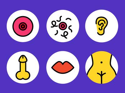 Erogenous Zones bodyimage love sex design icon illustration