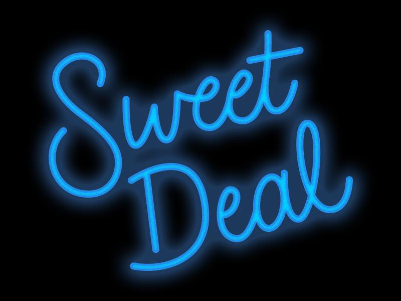 Sweet Deal sale sweet cybermonday blackfriday script neon glow typography illustration design digital handlettering lettering illustration