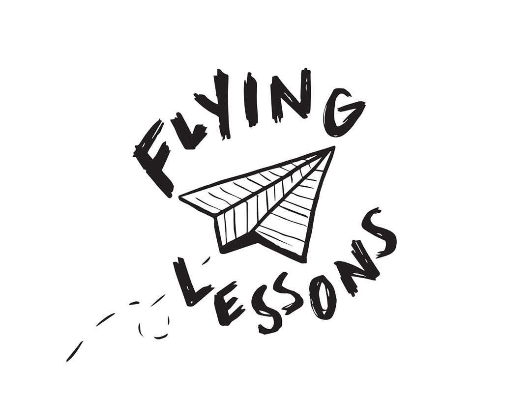 Flying Lessons logotype handlettering lettering band musician branding logo design paper airplane hand drawn flying illustration logo