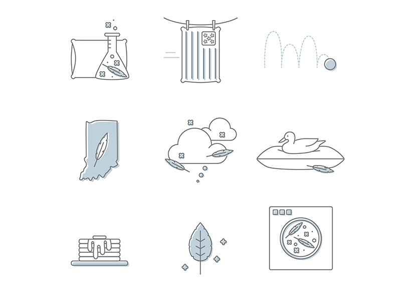 Pillow Fluff Icons comfort breakfast illustration restaurant sleep pillow line drawings icon design iconset iconography icons