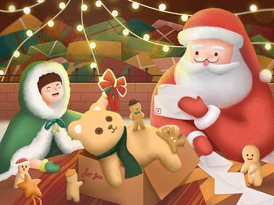 Christmas elf santa claus 圣诞老人 熊 礼物 姜饼人 圣诞 gingerbread man present gift box illustration bear invite christmas